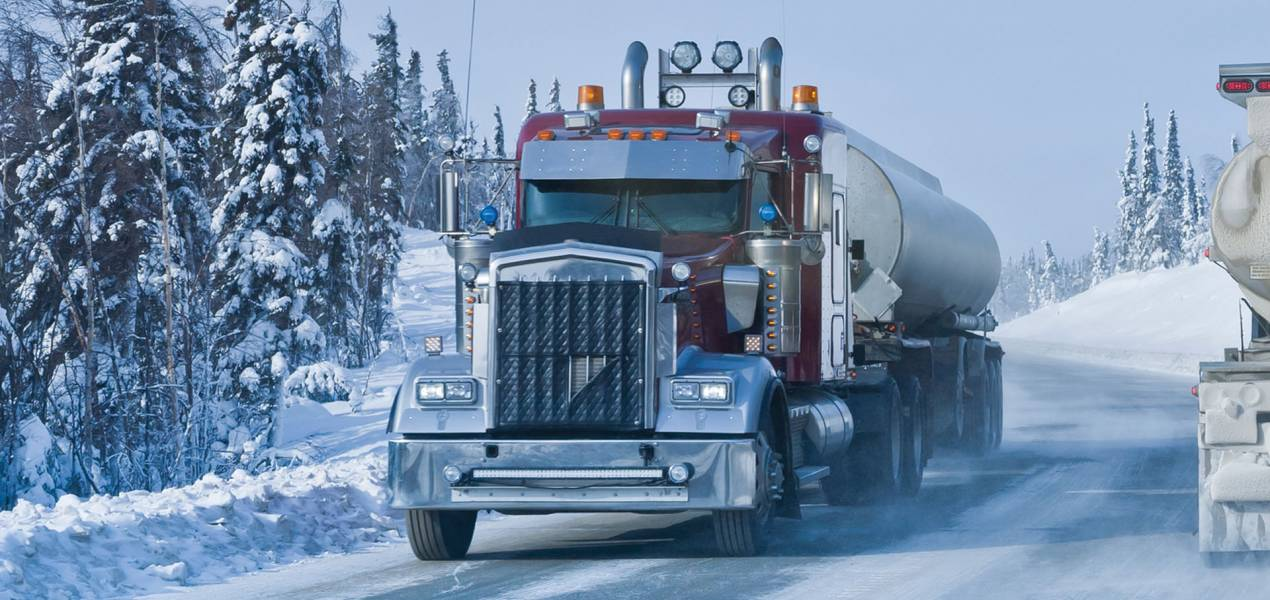fuel truck in snow